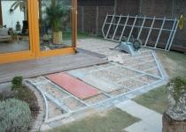 Konstruktion einer Holzterrasse