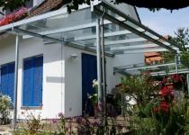Überdachung, feuerverzinkt - Eindeckung mit Sicherheitsglas, glasklar