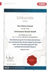 Urkunde - Rehe, 12.5.2015