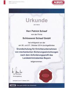 Urkunde - Herr Patrick Schaaf - Grundschulung für Errichterunternehmen von mechanischen Sicherungseinrichtungen